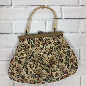 Vintage Tapestry Floral Purse Carpet Bag KISS lock